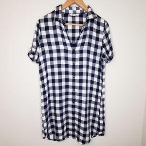 BB Dakota Long Plaid Checkered Short Sleeve Shirt